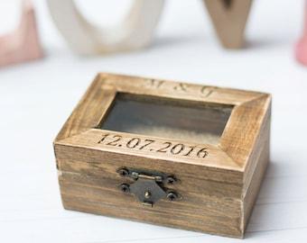 Personalized Ring Box Glass Ring Box Wedding Ring Box Bearer Rustic Ring Holder Lace Burlap Ring Box