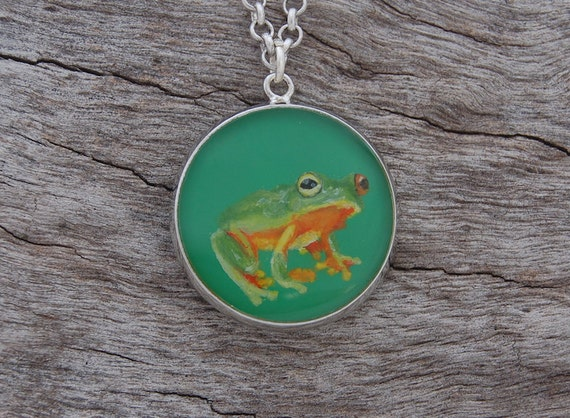 Hand Painted Tree Frog Pendant