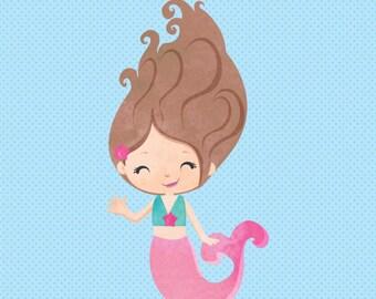Mermaid Clipart, Watercolor mermaid digital clipart, watercolor mermaid graphic, cute mermaid, Commercial License Included
