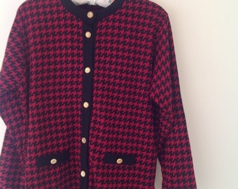 SALE!! 80's red black dogtooth check cardigan ladies women's vintage 1980's jacket gold buttons