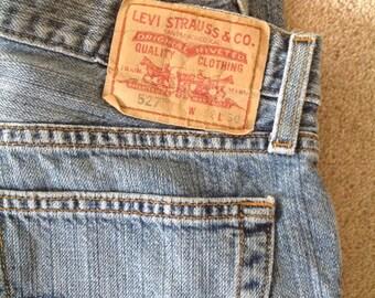 Levi's jeans, mens jeans, mens Levi's, Vintage men's Levi 527 denim jeans, faded jeans, red tab jeans, Levi boot cut jeans