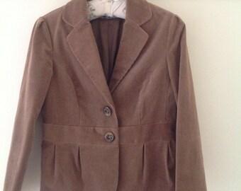 80's vintage brown cord cropped jacket, ladies corduroy riding jacket, ladies vintage coat