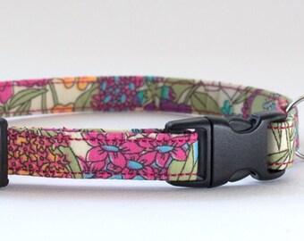 Cat collar made in Liberty Ciara fabric