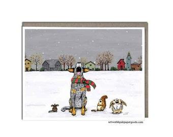 "Australian Cattle Dog, Blue Heeler, Christmas Greeting Card, 4x5 - ""First Snow"""