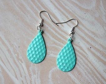 Handpainted Mint Teardrop Earrings - Dangle Earrings - Drop Earrings - Colorful Earrings - Textured Earrings