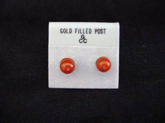 Beautiful pair of gold filled 6mm round Red Jasper earrings on posts for pierced ears