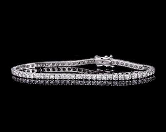 4 Carat White Diamond Tennis Bracelet in solid 18k white gold, Anniversary Gift