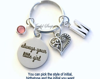 Always your little girl Keychain, Parents of the Bride Key Chain, Silver Charm Gift for mom Keyring initial birthstone custom personalized