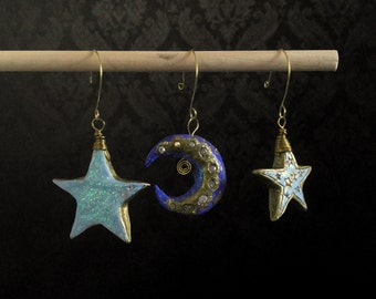Blue Stars and Moon Sparkle Ornaments Set of 3