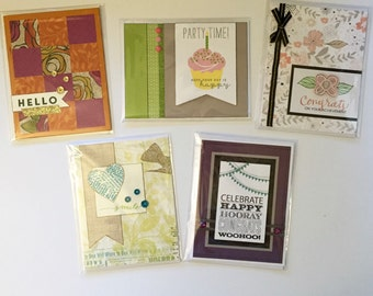 Greeting Cards / Set of 5 Greeting Cards / Hand Stamped Cards / Close To My Heart / CTMH / Handmade Cards / Hello / Smile / Congratulations