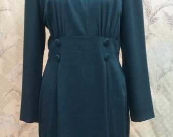 1980s Forest Green Dress