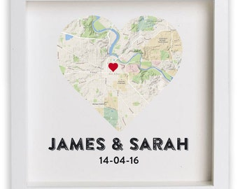 Wedding gift for couple / Housewarming / Anniversary / New Home / Framed Print Personalised Heart Map, gift for couple