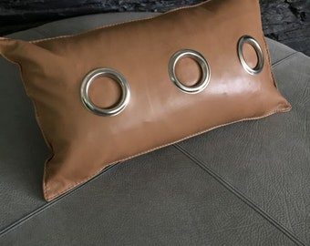 Super soft lamb leather eyelet cushion