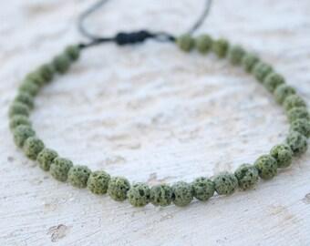 Lava Bracelet, Unisex Bracelet, Healing Bracelet, Calm / Grounding, Zen Bracelet, Green Lava 4mm, hippie style, adjustable, beach, summer