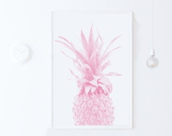 Pink Pineapple Print, Dorm Decor Pink Wall Art Print Pineapple Printable Art-Tropical Decor PRINTABLE Poster Print Download, apartment decor