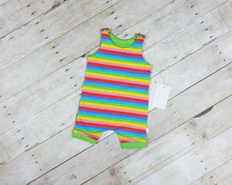 Baby Romper - Tank Top Romper - Toddler Romper - Baby Girl Romper - Baby Boy Romper - Short Romper- Romper with Snaps - Rainbow Romper