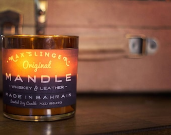 9 oz. Whiskey & Leather Man Candle (Mandle) | Natural Soy | Mens Candle