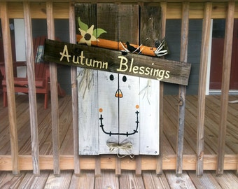 Scarecrow Pallet Signs - Fall Sign - Happy Fall Y'all Sign - Autumn Blessings - Hand Painted - Wood Signs - Fall Decor - Autumn Decorations