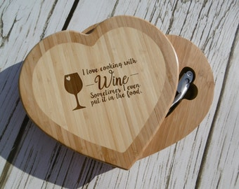 I Love Cooking With Wine, Sometimes I even Put it in the Food Cutting board, Heart Shaped, Custom, Personalized, Funny, Swivel w/ Tools,Gift