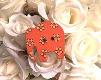 Orange Flower Elephant Button Ring