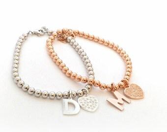 Initial charm bracelet, letter bracelet, sterling silver bracelet, initial bracelet, personalized bracelet, silver bracelet, gold bracelet