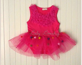 Birthday pink tutu baby romper ruffle party dress