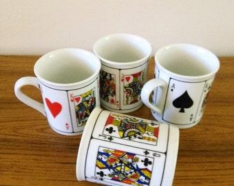 Vintage Set of 4 Jobar International Royal Flush Coffee Mugs Poker Coffee Mugs Playing Card Cups Bridge Coffee Mugs Playing Card Coffee Mugs