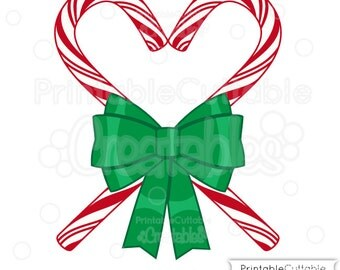 Candy Cane Heart SVG Cut File & Clipart - Includes Limited Commercial Use!