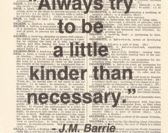 "Genuine Vintage 1948 Dictionary Page 5 x 7 Print ""Kinder than necessary"" Quote"