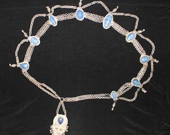 Vintage silver and lapis lazuli belt - ethnic, gypsy