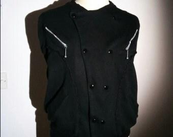 Vintage Black Jersey Rockabilly Jacket with Zip Pockets