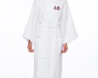 Alpha Phi Waffle Weave Bath Robe, APhi Waffle Weave Robe, Sorority Letter Bath Robe, Alpha Phi Spa Robe