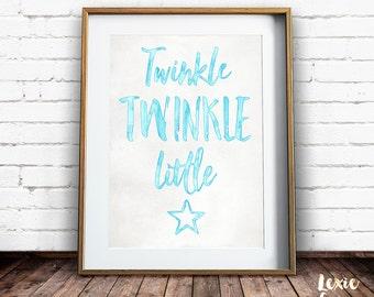 Twinkle Twinkle Little Star, Boy Nursery Art, Twinkle Twinkle Little Star Print, Childrens Art, Blue, Printable Wall Art, Instant Download