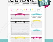 Colorful Daily Planner PDF, Printable planner, Diy to do list, A4/Letter Size, A5 Inserts, Personal Size, Desk Manager, Instant Download