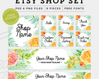 Etsy Shop Set Download- Branding Package Premade Etsy Branding Kit - PSD Etsy Set - Floral Watercolor Marketing Kit, PSD Etsy Shop Graphics