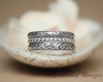 Size - 6 Three Stacking Rings Set in Sterling - Silver Wide Wedding Band - Three Band Set - Anniversary Bridal Band - Ready to Ship