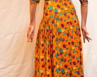 Flamenco Dress Orange Floral. Separates