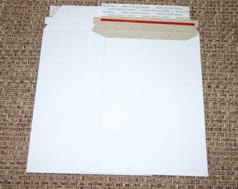 10 White 6x8 Rigid Stay Flat Self Sealing Lightweight Cardboard Envelopes Mailers For Photos Decals Stickers And More