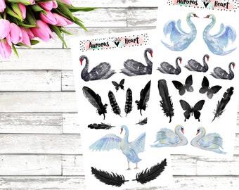 Black Swan Set Planner Stickers boho
