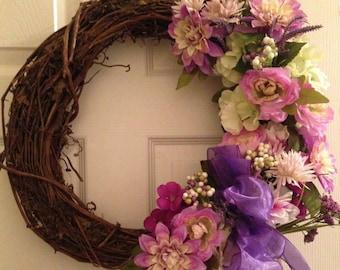 Front door wreath, summer wreath, purple summer wreath, summer decor, wreath for door