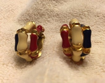 Red White and Blue Vintage Earrings
