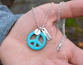 Valentine gift for him Personalized Men necklace Peace sign necklace peace necklace personalized necklace Initial Necklace stamped initial