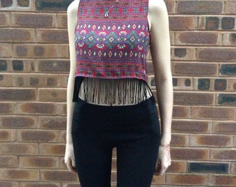 Aztec striped crop top with fringe detail