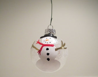 Snowman Glitter Christmas ornament Handpainted