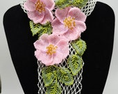 Pink and Silver Statement Beaded Necklace Scarf with Flowers of Wild Rose, Bridal Necklace, Wedding Jewelry, Holiday Necklace, Gift for Her
