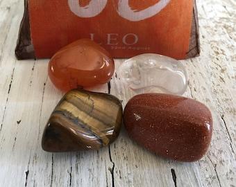 LEO Zodiac Stone Set | Horoscope Zodiac Kit, Crystal Healing Gemstone Kit | Mediation Stones