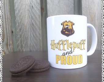 Hufflepuff and Proud Coffee Mug (harry potter inspired)