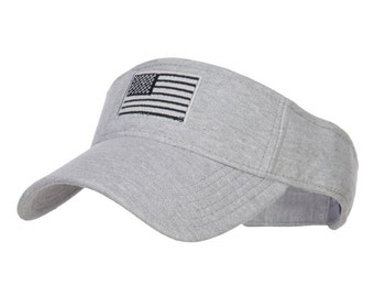 American Flag Embroidered Cotton Knit Visor