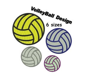 VolleyBall Embroidery Design - 6 sizes Instant Download
