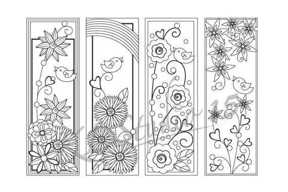 Happy Spring- Coloring Bookmarks Page, Relax Mandala Designs to Color ...
